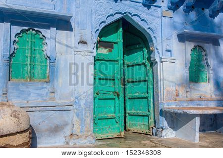 Traditional blue house in Blue City Jodhpur, India.