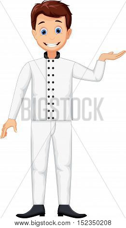 funny chef cartoon posing for you design