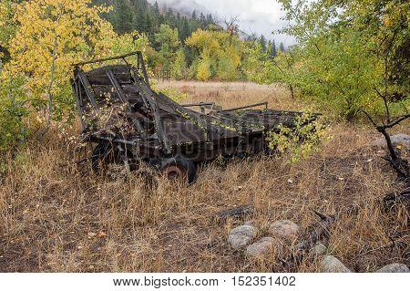 An old rundown wagon in Okanogan county in Washington near Winthrop.