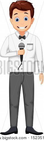 funny television host cartoon holding a microphone