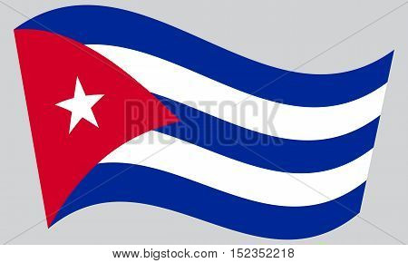 Cuban national official flag. Patriotic symbol banner element background. Correct colors. Flag of Cuba waving on gray background vector