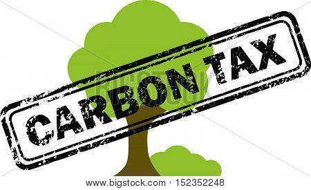 Carbon tax rubber stamp over tree icon isolated on white background