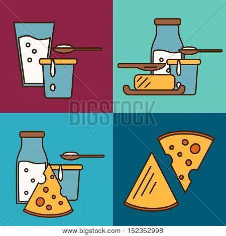 Assortment of different dairy products, isolated square composition on color background, vector illustration in line style design. Organic farmers food. Organic food and dairy product concept. Milk product icon. Cartoon dairy product. Dairy icon.