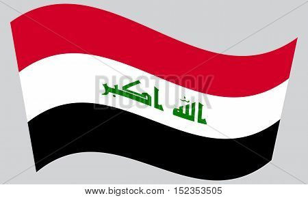 Iraqi national official flag. Irak patriotic symbol element background. Iraki banner. Correct colors. Flag of Iraq waving on gray background vector