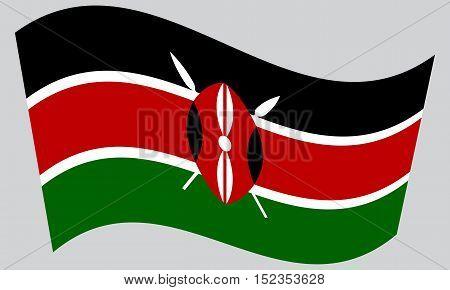Kenyan national official flag. African patriotic symbol banner element background. Correct colors. Flag of Kenya waving on gray background vector