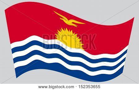 Kiribati national official flag. Patriotic symbol banner element background. Correct colors. Flag of Kiribati waving on gray background vector