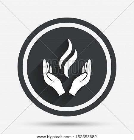 Energy hands sign icon. Power from hands symbol. Circle flat button with shadow and border. Vector