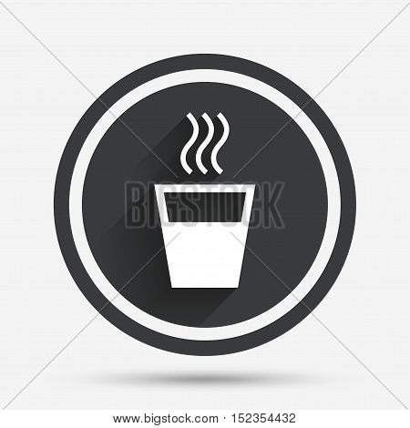 Hot water sign icon. Hot drink glass symbol. Circle flat button with shadow and border. Vector