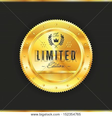 Gold metal badge vintage style isolated vector illustration. Icon of gold badge. Limited product badge. Award or medal of new product golden badge. Golden badge.