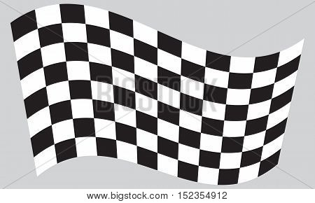 Checkered racing flag. Symbolic design of end of car race. Black and white background. Checkered flag waving on gray background vector