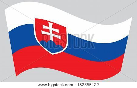 Slovakian national official flag. Patriotic symbol banner element background. Correct colors. Flag of Slovakia waving on gray background vector