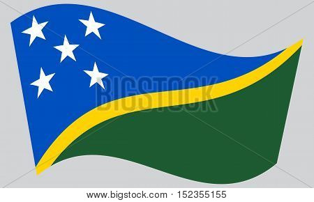 Solomon Island national official flag. Patriotic symbol banner element background. Correct colors. Flag of Solomon Islands waving on gray background vector