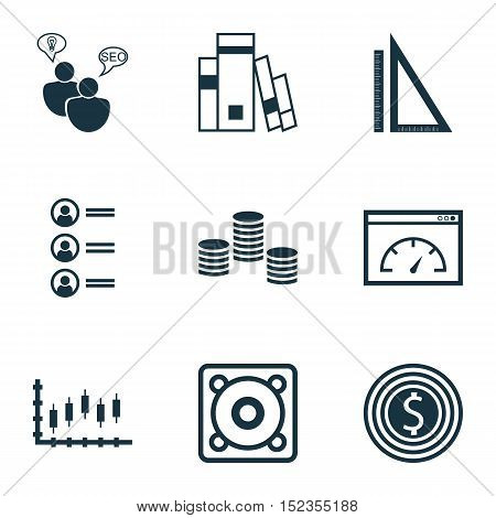Set Of 9 Universal Editable Icons For Seo, Human Resources And Computer Hardware Topics. Includes Ic
