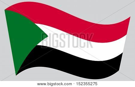 Sudanese national official flag. African patriotic symbol banner element background. Correct colors. Flag of Sudan waving on gray background vector