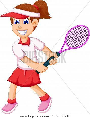 funny young girl playing tennis for you deign