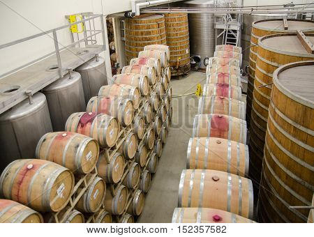 Wine Barrels At Vineyard In California