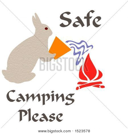 rabbit putting out camp fire nature poster poster