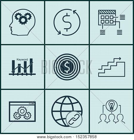 Set Of 9 Universal Editable Icons For Business Management, Marketing And Seo Topics. Includes Icons