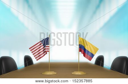 United States and Colombia relations and trade deal talks, 3D rendering