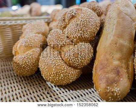 Fresh buns with sesame seeds in rotang box