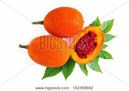 Gac Fruit, Typical Of Orange-colored Plant Foods In Asia With Half Cross Section Isolated On White T