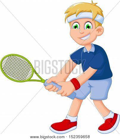 funny boy cartoon playing tennis for you design