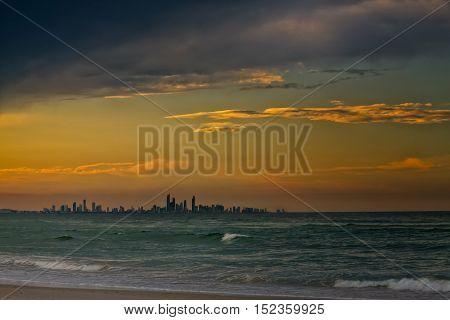 Gold Coast City Skyline In The Sunset