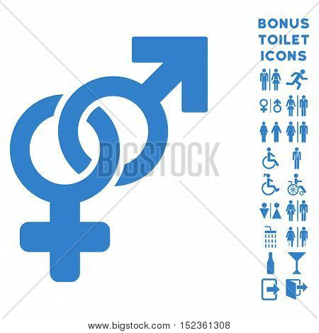 Heterosexual Symbol icon and bonus gentleman and female restroom symbols. Vector illustration style is flat iconic symbols, cobalt color, white background.
