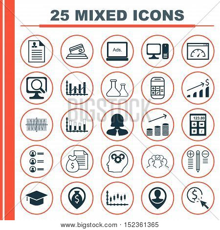 Set Of 25 Universal Editable Icons For Marketing, Project Management And Statistics Topics. Includes