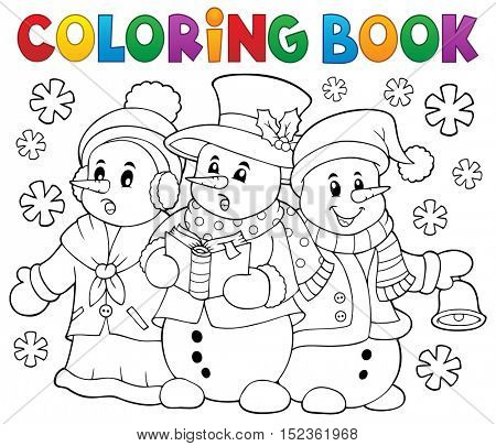 Coloring book snowmen carol singers - eps10 vector illustration.