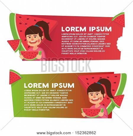Two banner for web design. Watermelon theme. Cute little girl eating watermelon in summertime. Girl eating watermelon. Vector