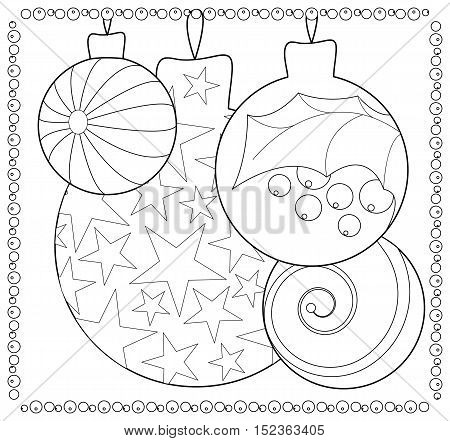 Christmas fir tree ornament coloring page. Adult or teen coloring page with Christmas or New Year doodle illustration. Vector coloring card for winter holidays. Christmas ornament balls for coloring