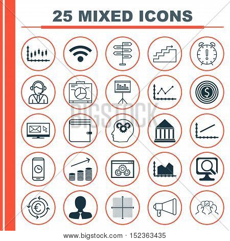 Set Of 25 Universal Editable Icons For Project Management, Human Resources And Business Management T