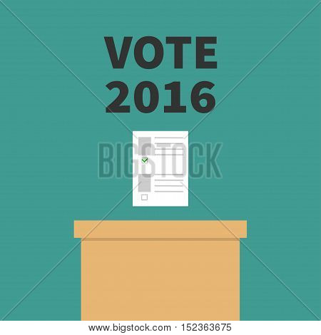 Ballot Voting box Paper blank bulletin with green mark concept. Polling station. President election day Vote 2016 black text. Flat design Card. Vector illustration