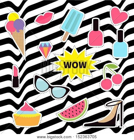 Quirky sticker patch badge set. Fashion pin. Lipstick heart wow cupcake shoes ice cream watermelon lips cherry sunglasses White black wave abstract line optical background. Flat Vector