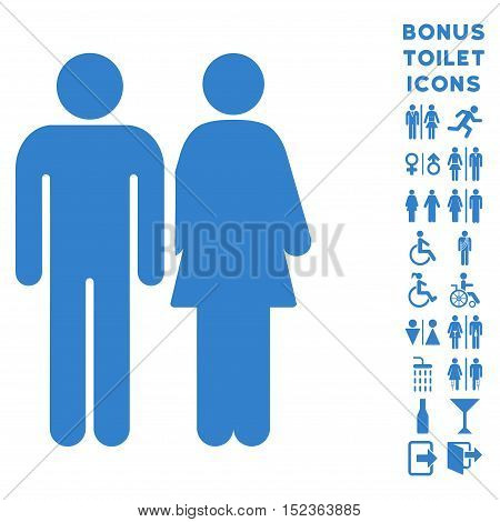 Married Couple icon and bonus gentleman and lady lavatory symbols. Vector illustration style is flat iconic symbols, cobalt color, white background.