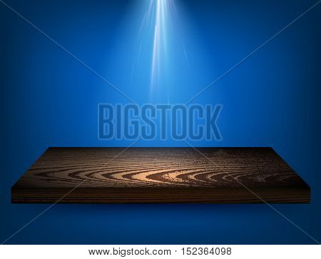 Blue background with wooden shelf and backlight. Vector illustration.
