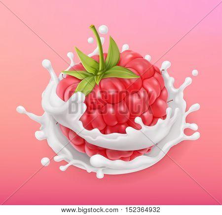 Raspberry and milk splash. Fruit and yogurt. Realistic illustration. 3d vector icon
