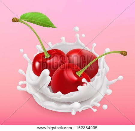 Cherry and milk splash. Fruit and yogurt. Realistic illustration. 3d vector icon