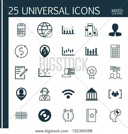 Set Of 25 Universal Editable Icons For Human Resources, Project Management And Statistics Topics. In