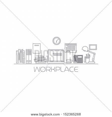 Workplace mono color thin line art vector illustration