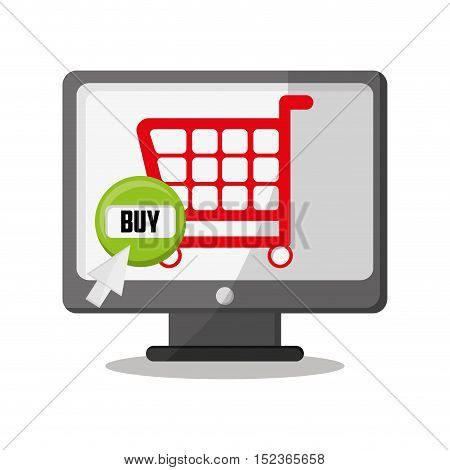 Cart and computer icon. shopping online ecommerce media and market theme. Colorful design. Vector illustration