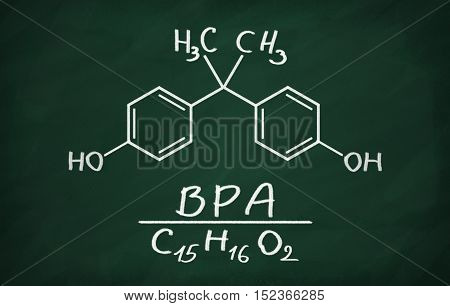 Structural model of BPA (bisphenol) on the blackboard.