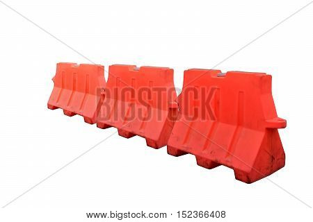 Plastic barriers blocking perspective the road  isolated on white background with clipping path.