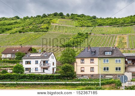 Lorch am Rhein Germany - May 23 2016: Houses and vineyards in cloudy weather at Lorch am Rhein Hesse Germany. It belongs to the Rhine Gorge World Heritage Site.