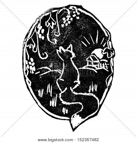 Vector illustration of fable about a fox and grapevine. Vintage style print wildlife concept