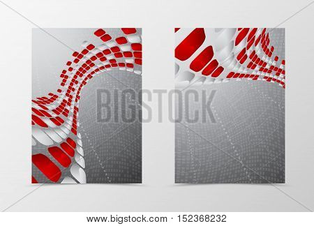 Flyer template wave design. Abstract flyer template with red and gray mottled rounded squares on digital geometric background. Futuristic flyer design. Vector illustration