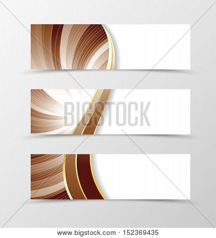 Set of banner vortex design. Light banner for header in coffee with milk colors with silver lines. Design of banner in wavy spectrum style. Vector illustration