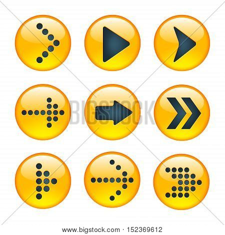 Set of Yellow Signs Arrows. Sign Arrows Icons. Nine Arrow Set. Dotted Arrows Triangle Arrows.
