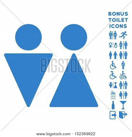 WC Persons icon and bonus gentleman and female WC symbols. Vector illustration style is flat iconic symbols, cobalt color, white background.
